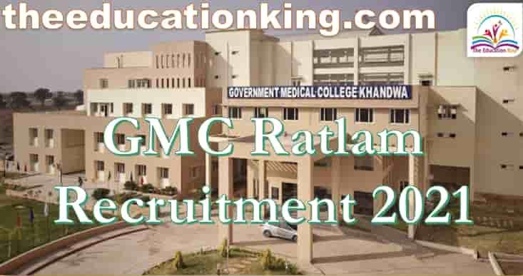 GMC Ratlam Staff Nurse Recruitment 2021