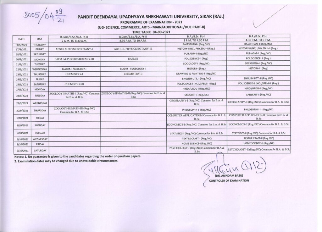 PDUSU Time Table 2021